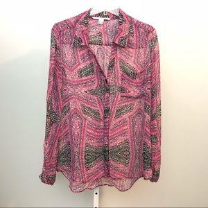 DVF Size 10 Lorelei Two Print Sik Shirt